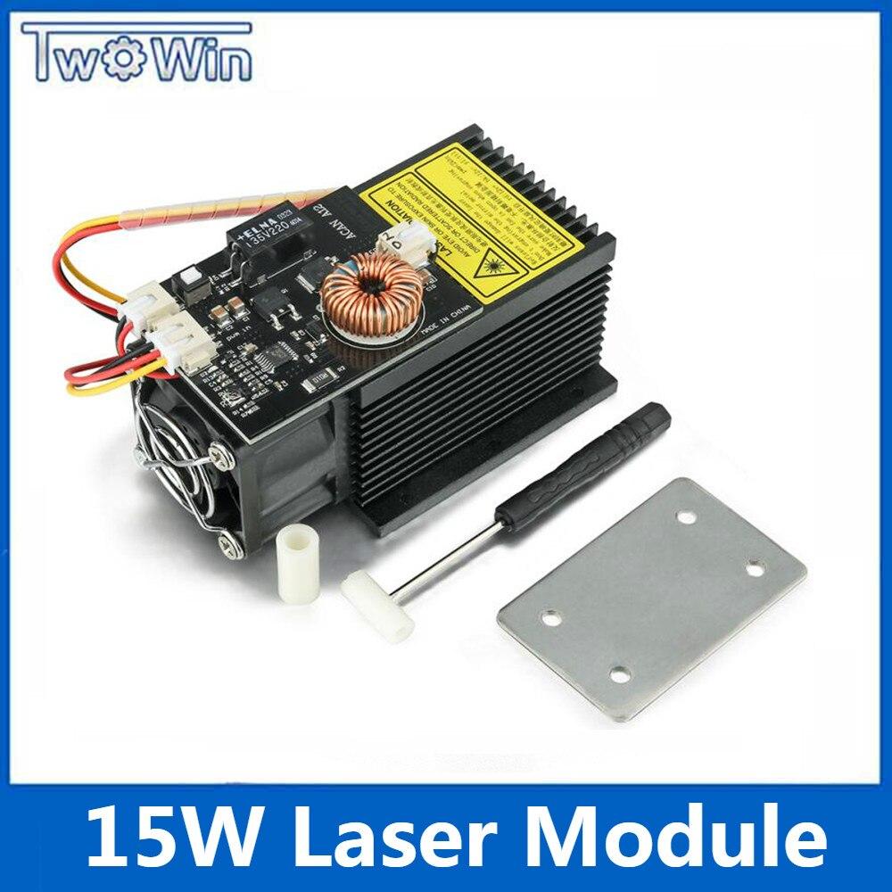 15W Powerful Laser Module 12V 445-450nm Blue Laser Head Laser Engraving for DIY CNC Laser Engraver Machine
