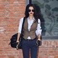 Tão legal! 2016 primavera de lã vest mulheres curto patchwork coletes skinny colete com botões gilet veste femme chalecos mujer