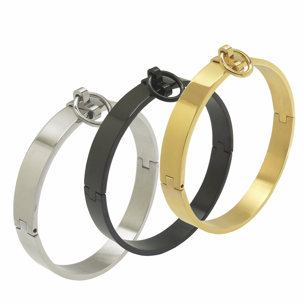 10CM Polished Stainless Steel Locking Slave Collar Neck Cuff Fetish Choker Sex Restraints Set Role Play