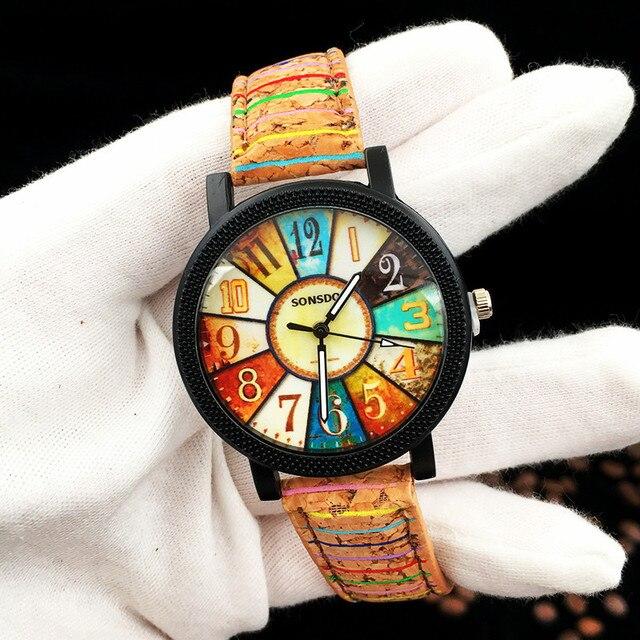 The Wooden Wristwatches Women Tree Pattern Leather Belt Watch Leisure New Digita