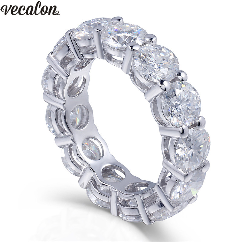 Vecalon 925 anillo de eternidad de plata de ley 6mm 5A zirconia Sona Cz anillos de boda de compromiso para mujeres Dedo de novia joyería