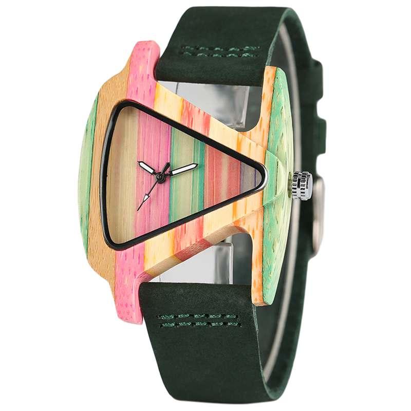 YISUYA unieke driehoek holle houten horloge creatieve kleurrijke - Dameshorloges - Foto 4