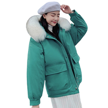 2019 Fashion Short Parka Women 2019 Winter Jacket Women Coat Fur Collar Thick Warm Long Female Parkas Outerwear with Big Pocket top quality army green winter coat women parka faux fur coat fashion jacket for female casual outerwear warm brand style parkas