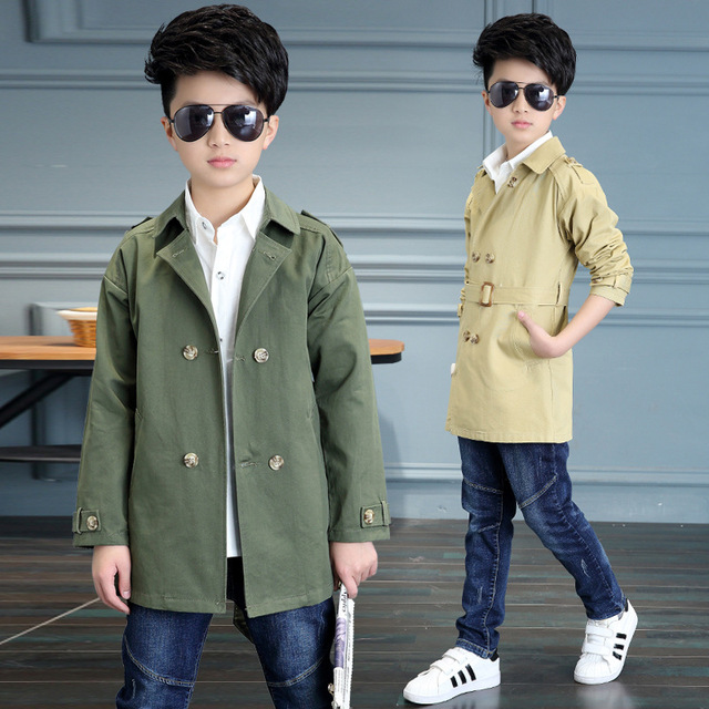 2017 New Baby Boy Spring Trench Solid Double-breasted Kid Coat England Style Children Autumn Outwear Windbreaker