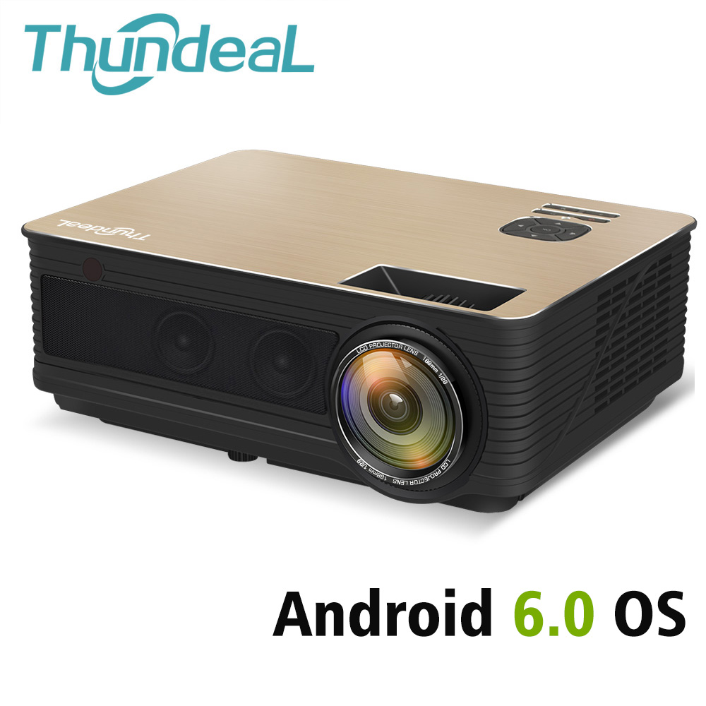 ThundeaL HD Projecteur TD86 4000 Lumen Android 6.0 WiFi Bluetooth Projecteur (En Option) pour Full HD 1080 p LED TV Vidéo Projecteur