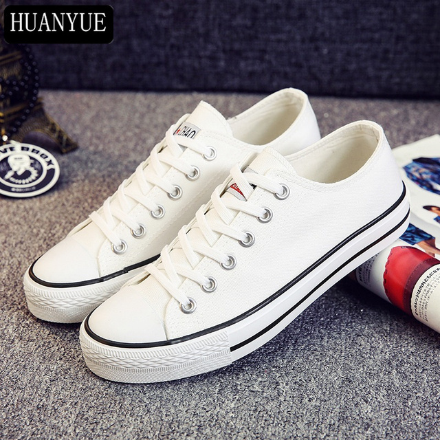 c7f83cffe2 Solid Blue White Black Canvas Shoes Lace Up Breathable New Fashion 2018  Spring Summer Shoes Walking