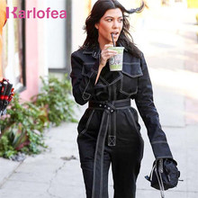 cf821fe0a2b0 Karlofea Fashion New Women Autumn Winter Jumpsuits Cotton Denim Black White  Rompers Loose Long Sleeve Jeans