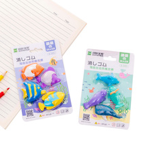 10set/lot Marine Animal Whale Dolphins Eraser Set Four One Card Random Pencil Rubber Student Kids Gifts