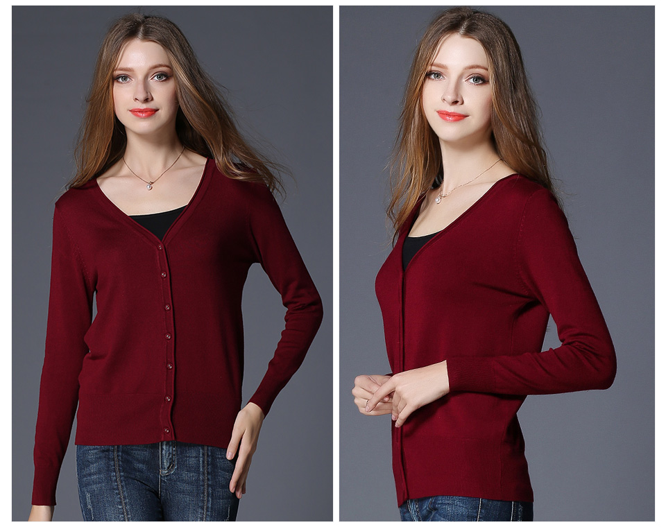 17 New Top Selling Spring Woman Sweater Tops Fashion Knitted Long Sleeve V-Neck Solid Loose Size Casual Woman Cardigan Sweater 9