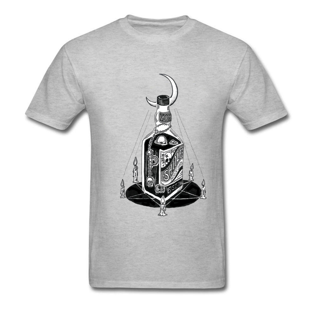 Funky Devils Moonshine Printed On T Shirts O Neck Cotton Fabric Men Tops Shirts Short Sleeve Summer/Fall Printed On Tops Shirts Devils Moonshine grey