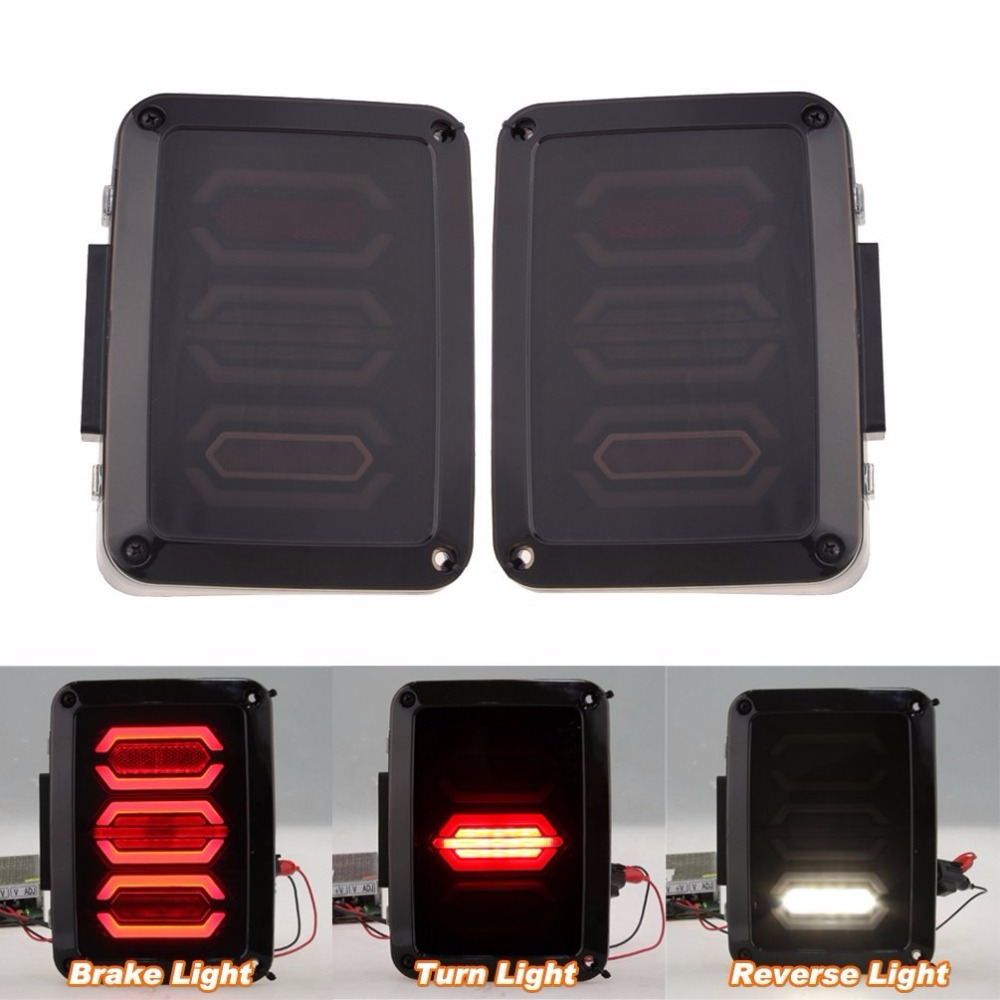 LED Tail Lights for Jeep Wrangler JK Brake Reverse Turn Signal Lamp Rear Parking Stop Back Up Lamp (Smoked Diamond) hireno tail lamp for mercedes benz w220 s280 s320 s350 s500 s60 1998 05 led taillight rear lamp parking brake turn signal light
