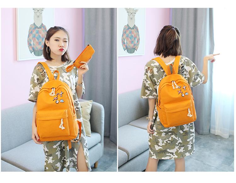 Menghuo 5 Pcsset Women Backpacks Cute Plane Badge School Bags For Teenage Girls Simple Canvas Backpacks Ladies Shoulder Bags (7)