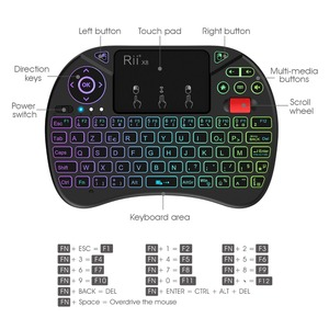 Image 2 - Original Rii X8 2.4GHz AZERTY Mini French Wireless Keyboard with Touchpad, changeable color LED Backlit, Li ion Battery