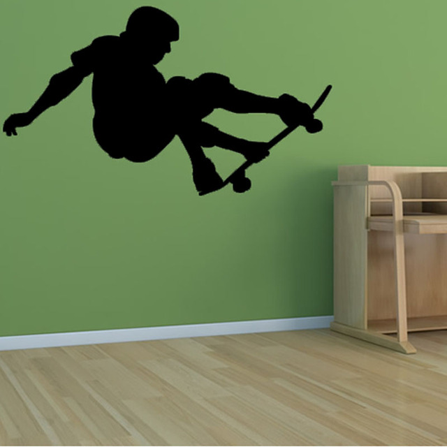 Skateboard Wall Stickers PVC Self Adhesive Decal Kids Room Removable Home Decor Waterproof Sport Silhouette Wall & Skateboard Wall Stickers PVC Self Adhesive Decal Kids Room Removable ...