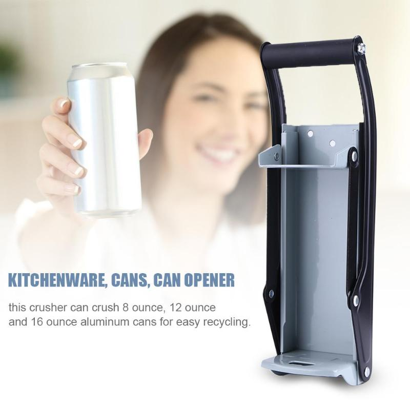 16oz Beer Can Crusher Wall Mounted Hand Push Soda Cans Bottle Opener Iron Bottle Crushing Recycling Tool Accessory