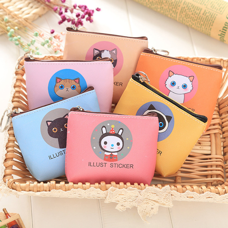 Cute Cats Coin Purse PU Leather Money Bags Pouch For Women Girls Mini Cheap Coin Pocket Small Card Holder Case Wallets owl coin purses women wallets small mini cute cartoon card holder key headset money bags for girls ladies purse pink green blue
