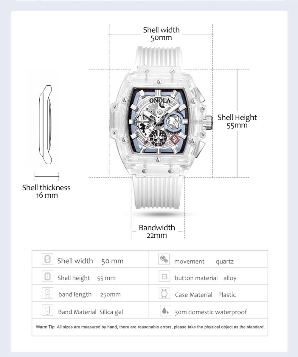 HTB1kN1lXAY2gK0jSZFgq6A5OFXa9 luxury mens wristwatches Transparent quartz waterproof Multifunction man watches square white fashion clocks