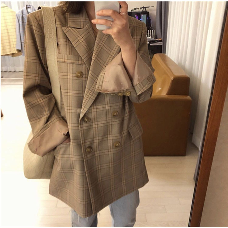 2019 Blue Large Lattice Double-Breasted Loose Large Edition Casual Suit Notched Double Breasted Plaid Women Jackets And Coats