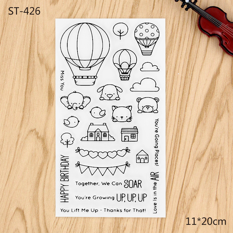 Hot Air Balloon Transparent Clear Stamp For DIY Scrapbooking Decorative card making craft Fun Decoration Supplies fast free shipping hot 5pcs 40cmx60cm photopolymer plate stamp making diy letterpress polymer stamp maker systerm