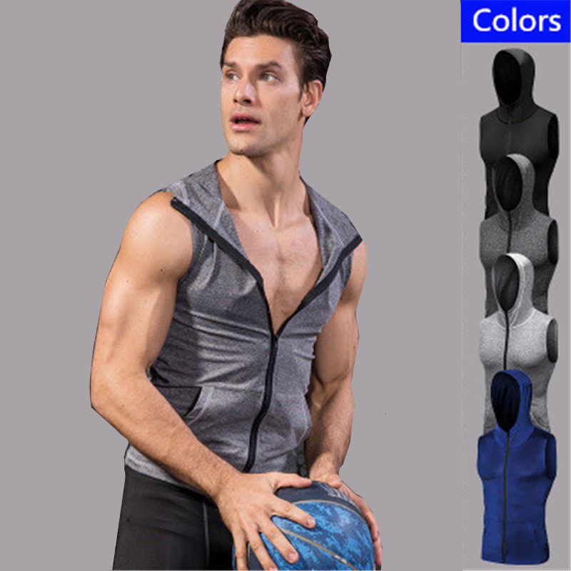 Brand Men T shirt Sports Jerseys Compression Sleeveless Shirt hoddies Fitness Gym Traini ...