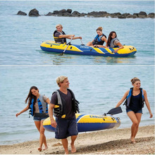 INTEX 68370 3 Person Inflatable Rowing Boat Thickened Fishing Boat PVC Material Professional Rubber Boat