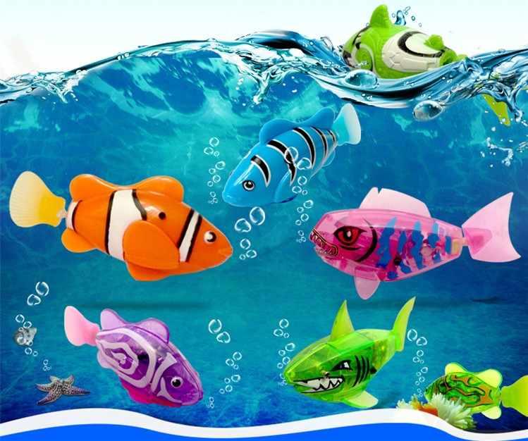 Цельнокроеное платье! Забавная плавающая электронная рыба, активированная на батарейках, игрушечная рыба, робот, домашнее животное для рыбной ловли, украшения для домашних животных