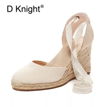 Women Ankle Strap Espadrilles Wedge Sandals 2018 Summer Canvas High Heel Fashion Lace up Women Platform Wedge Sandals Large Size black rope women white slingback shoes lace up ladies strap sandals female wedge ankle espadrilles pumps tie closed toe designer