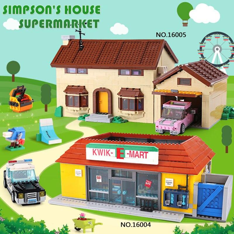 цена на LEPIN 16005 16004 the Simpsons House Model Building Block Bricks Compatible legoing 71006 Boy gift Bart Homer the Kwik-E-Mart
