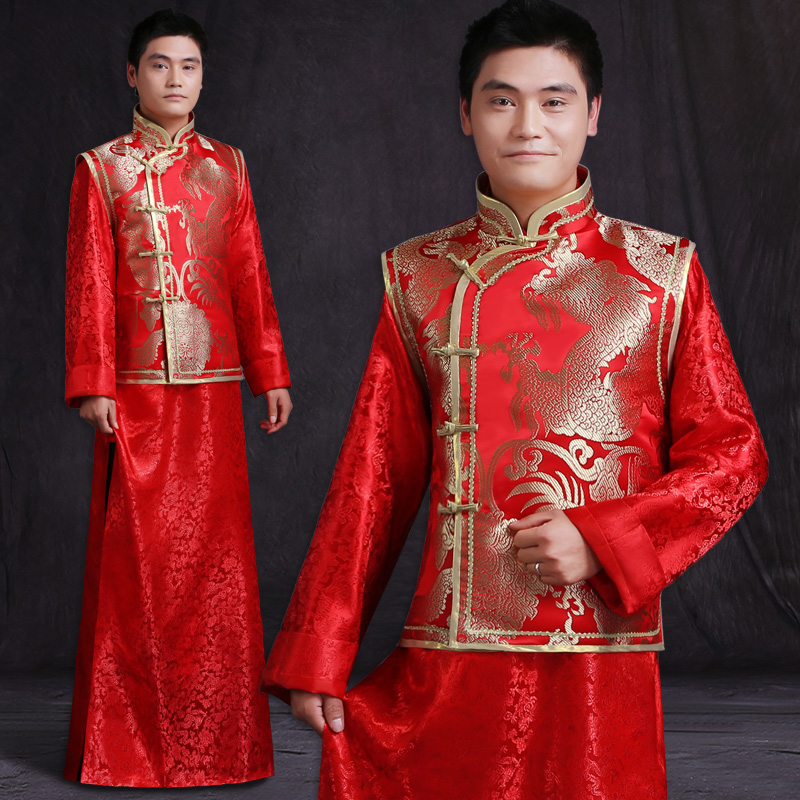 e027338183ca4 men Chinese style ancient costume groom tunic red dress long robe gown traditional  Chinese wedding dress tang suit with dragon-in Robe   Gown from Novelty ...