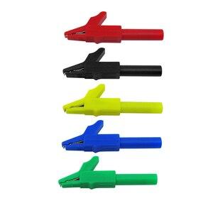Image 3 - TKDMR 30 sztuk zestaw 5 kolorów 4mm podwójna wtyczka bananowa gładki silikonowy przewód testowy do multimetru 1m w kształcie litery U zacisk krokodylkowy