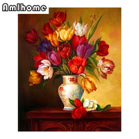 AMLHOME New 5D DIY Diamond Painting Flower Crystal Diamond Painting Cross Stitch Flower Vase Needlework Home Decorative HC0279