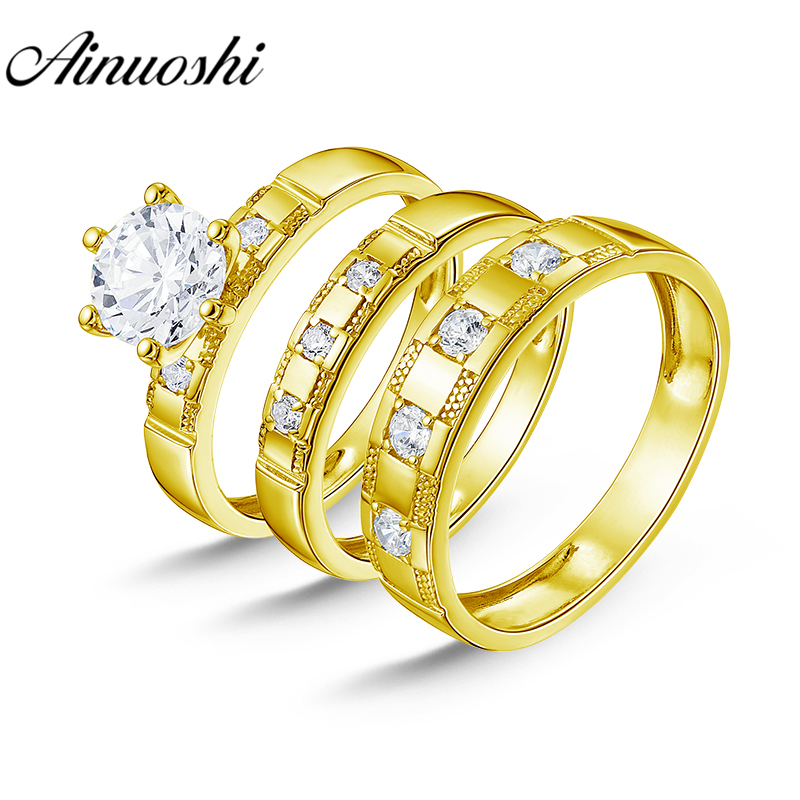 AINUOSHI Real 14K Solid Yellow Gold TRIO Couple Rings Set 6 Claws Inlaid Stone Male Band