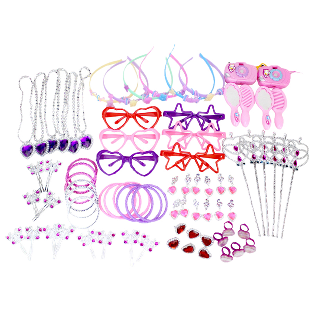 72Pcs Girl Birthday Decoration Toy Set For Pink Party 12 Type Mixed Heart Head Ring Butterfly Hairpin Hair Band Camera Toys Set