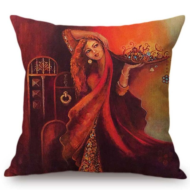 Islamic Painting Art Arab Woman Carrying Plate Muslim Home Decoration Sofa Throw Pillow Case Mediterranean Style Cushion Cover Cushion Cover Aliexpress