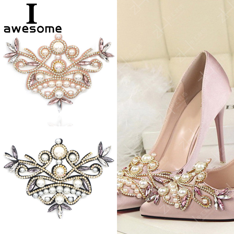 1pcs Pearl Bridal Wedding Party Shoes Accessories For High Heels Sandals Boots DIY Manual Rhinestone Decorations Shoe's Flower