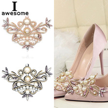 1pcs Pearl Bridal Wedding Party Shoes Accessories For high Heels Sandals Boots DIY Manual Rhinestone Decorations flower