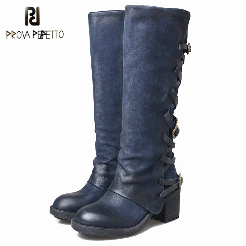 Prova Perfetto Genuine Leather Do Old Side Zipper Women Long Boots Handmade Strap Buckle Knee High