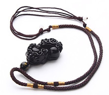 100% Natural Obsidian Engraving Pendant 3D Carved Pi Xiu / Pi Yao Women Men's Amulet Lucky Jades Jewelry Pendants With Free Rope