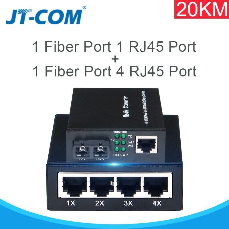 Gigabit Media Converter,10//100//1000 RJ45 to Single-Mode Dual SC Fiber 20km
