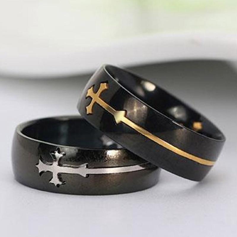 New Cool Detachable Cross Men Women Titanium Steel Wide Band Ring Finger Jewelry