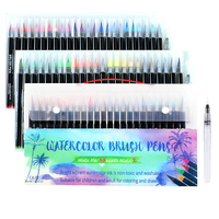 Watercolor Brush Pens with Real Brush Tips, 48 Colors for Painting, Calligraphy and Drawing + 2 Aqua Brush for Blending