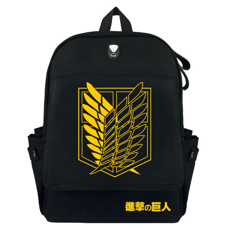 FVIP Anime Attack on Titan Backpack Canvas School Bag With Flap Pocket for Teenagers Stu ...