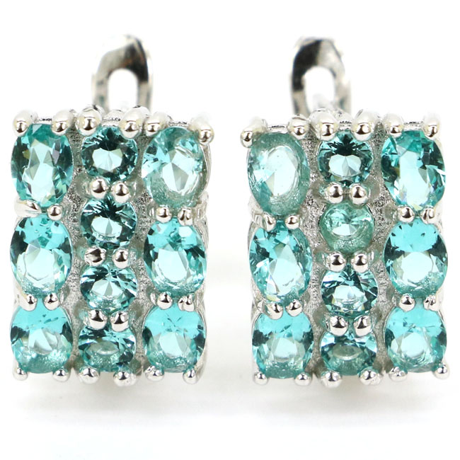 Real 4.5g 925 Solid Sterling Silver Romantic Rich Blue Aquamarine Gift For Girls Stud Earrings 16x14mmReal 4.5g 925 Solid Sterling Silver Romantic Rich Blue Aquamarine Gift For Girls Stud Earrings 16x14mm