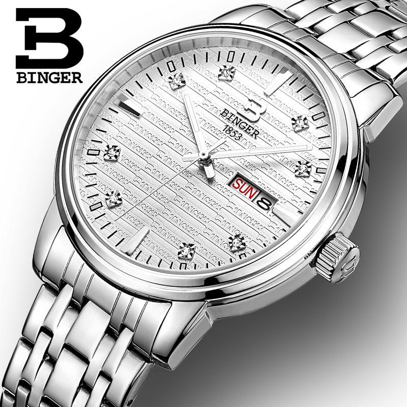 Montres pour hommes de suisse montres de luxe de marque BINGER ultra mince horloge à Quartz pleine montre en acier inoxydable glowwatch B3036-in Montres à quartz from Montres    3