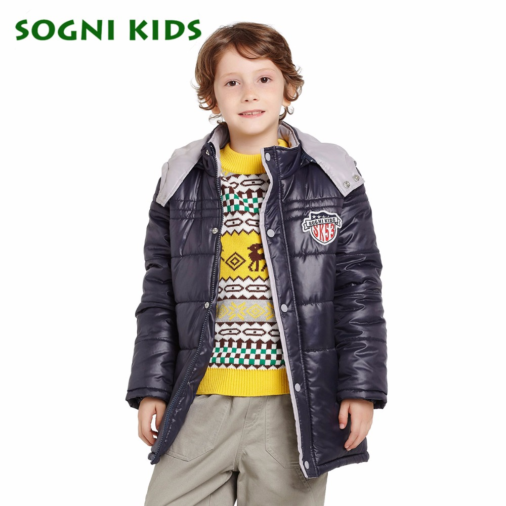 ФОТО SOGNI KIDS Christmas New Brand Children Clothing for Boys Winter Coat Long Cotton-padded Boys Parkas Kids Outerwear Jackets