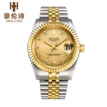 HOLUNS люксовый бренд классический золото парни весь стали смотреть автоматические механические с автоподзаводом ветер часы бизнес дизайнер платье наручные часы