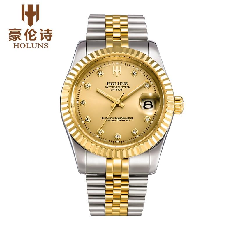 HOLUNS luxus marke klassische gold männer voller stahl uhr automatische mechanische selbst wind uhren business designer kleid armbanduhr-in Mechanische Uhren aus Uhren bei  Gruppe 1