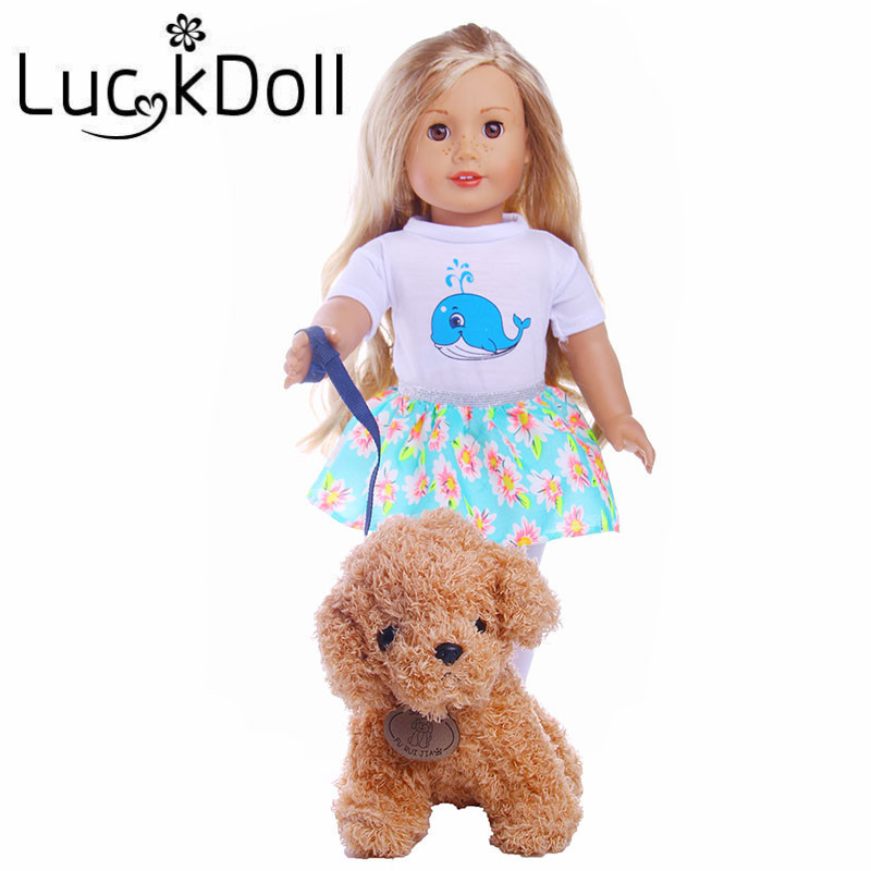 LUCKDOLL Soft Plush Toy Dog With ALead Fit 18Inch American 43cm BabyDoll Clothes Accessories,Girls Toys,Generation,Birthday Gift