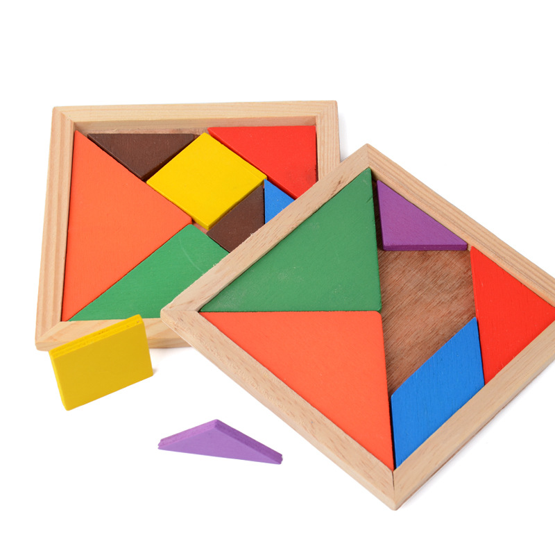 Wooden Tangram 7 Piece Jigsaw Puzzle Colorful Geometric Shape Square IQ Game Brain Teaser Intelligent Educational Toys For Kids