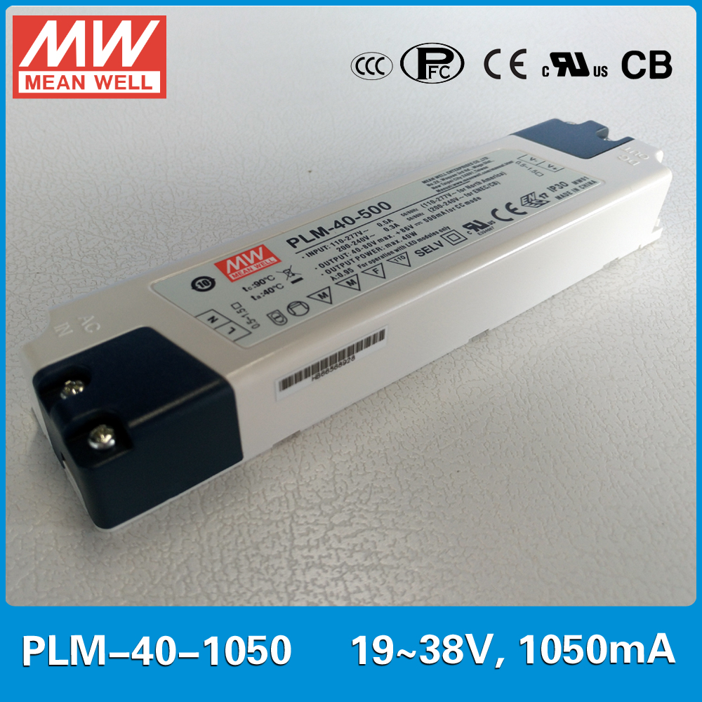 где купить Original MEAN WELL PFC LED power supply PLM-40-1050 40W 1050mA 19~38V with three-step analog dimming input 110~295VAC по лучшей цене